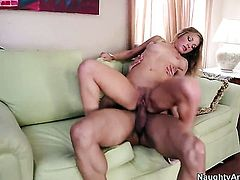 Blonde exotic with small bottom plays with hard schlong