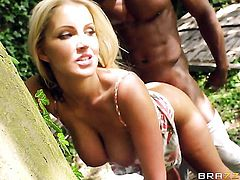 Blonde woman Georgie Lyall makes guys interracial sexual fantasies a reality