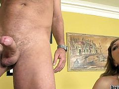 Glammed up harlot Mya Mayes satisfies her sexual needs and desires with guys meat pole in her mouth