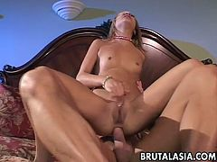 Blonde bitch getting fucked deep in her asshole