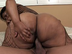 Plump ebony babe enjoys every moment of the dick riding action