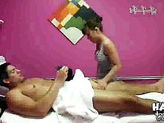 Brunette oriental makes dudes erect tool disappear in her mouth in sexual ecstasy