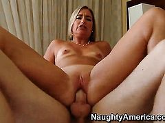 Blonde Sexy Suz massages mans man meat so that he moans and groans