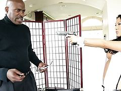 Charming goddess Lexington Steele taking interracial sex to the whole new level as she fucks with hard dicked guy