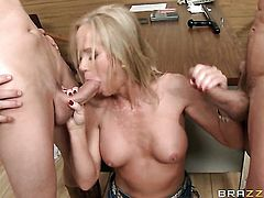 Milf hottie Simone Sonay is on the way to orgasm with hard cock in her butthole