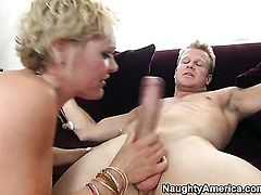 Blonde asian Jeremey Holmes with juicy butt and shaved twat does dirty things and then takes cumshot on her nice face