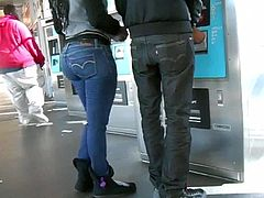 SEXY BLACK CHICK WITH A PHAT ASS AT THE ATM