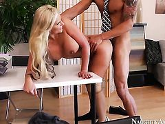 Blonde asian stunner Phoenix Marie is curious about giving stroke job