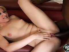 Blonde Heather finds her pussy wet after cock stroking