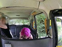 Misha is a punk at heart, and it shows in her wild hair colors. Hot pink is what it is now, and the fake taxi is where she is now. The driver pulls off somewhere more private and he tongues her deeply, before she gobbles his throbbing knob.
