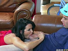 She is over 40, but that just means she really knows how to fuck. Veronica uses both hands and her mouth to make her son's best friend cum all over the place. Wouldn't you like to be with this superstar milf?