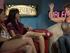 Raven-haired slutty lesbians in a cute interview show presented by Girlfriend films