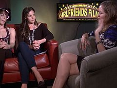 Kinky lesbians with long hair have a chat in this interview show