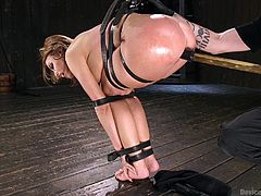 Britney Amber was suspended and the rope bondage in this BDSM session was so special. She couldn't move her hands and legs, and she was totally vulnerable. Her master ordered her to suck a dildo and he used the same dildo, to fuck her pussy. She had intense orgasms, even though she was tied-up.