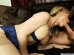 Blonde harlot with big breasts and smooth snatch gets covered in man goo on camera for your viewing entertainment