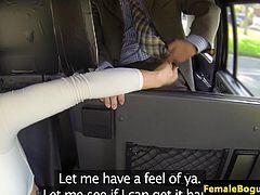 Female cabbie spitroasted in her taxi
