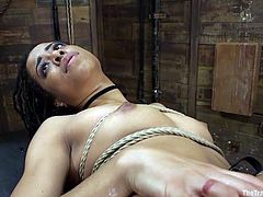 Kira loves to be bound and humiliated. The slut fists her own ass, while her master controls her. Now, when her butt is stretched out wide, he can stick his huge cock in her bumhole. She gets railed hard, while wrapped up in very tight rope bondage. The master uses her like a dirty fuck slut.