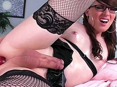 When a big dildo is in her ass, TS porn legend Natalie Mars, gets rock hard. Her veiny cock looks so suckable and she sensually jerks off furiously. She obviously can take a cock deep in her ass, because the sex toy is almost completely engulfed by her ass cheeks.