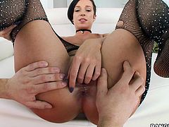 Naughty Jada wears kinky stockings and has big wonderful tits, which is a huge turn on, not to mention about her crazy ass. Her passionate lover starts eating cunt with a lusty desire and the atmosphere gets hotter and hotter... Click to see the sexy details!