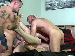 If you're gay and love to take big dicks inside you, you probably dreamed of getting fucked by two big fellas with massive cocks. Imagine yourself between two mountains of muscles and manly meat, just waiting to fuck your holes.