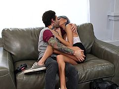 Their intimate session started on couch and the tattooed guy took the initiative. She offered him blowjob and the guy reached his full size. He started banging her from behind and they changed into missionary position after some intense fucking. She moaned really loud during the encounter.