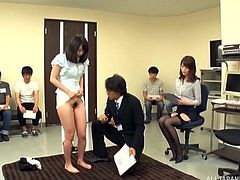 Don't you just loathe those dreadful training workshops, that you have to do at the office? Well, at this Japanese company, those same dreaded events are a little more interesting. The others watch, as one worker gets naked and spreads wide for the guys to finger her.