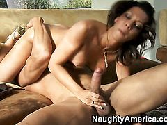 Brunette Carlo Carrera with juicy bottom and shaved muff enjoys another nice cumshot session
