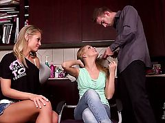 Cayenne Klein with hairless beaver takes guys stiff rod deep down her throat