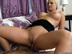 Blonde with big tits and bald muff spends her sexual energy with throbbing ram rod in her hands