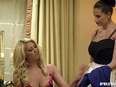 Private's Posh Girls Lexi Lowe and Sensual Jane are getting changed into some sexy lingerie, when they decide to invite the hotel boy in for a hot and heavy lesbian threeway! After rubbing each other's pussies, these busty cougars get down low and take a mouthful of cock.