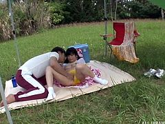 Kitano lets her boyfriend take her on a romantic picnic date. She knows it will lead to sex very soon, which is why she's excited about it. There's wet panties, oil on her ass and a good fucking still to come.