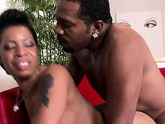 Delightful ebony chick with wonderful boobs and ass fucks a black dick