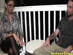 Bigtitted stepmilf in spex and stockings tugs