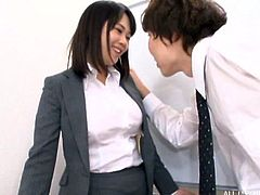 Even with the dick firmly in her mouth, this Japanese brunette's moans and groans were clearly audible. Her tits are really big and the titjob she offered, is a pleasure to watch. He could feel her huge boobs rubbing against his tool.