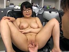 Japanese milf Kawai Mayu's big natural boobs were groped and fondled hard. While she was enjoying this, man positioned her on all fours, to suck her boobs and after some time, she asked him to lick her pussy. She was fingered hard and experienced the real pleasure for the first time.