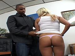 Lusty Whitney gets fucked hard in an ebony guy's office. The blonde milf shamelessly exposes her ass and fascinating big tits, as requested. Click to watch this horny slut sucking dick, on knees, then riding it. Have fun and enjoy the spicy scenes!