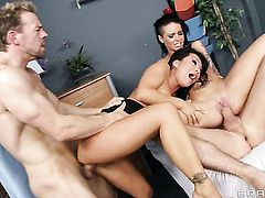 Asa Akira  Christy Mack gets the hole between her legs fucked by mans rock hard cock in interracial hardcore action