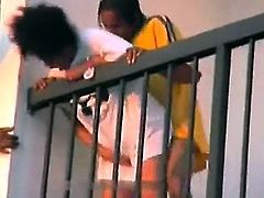 Sexy black woman fucked outside