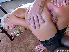 This hot bitch is wearing just a pair of kinky stockings and the sight of her crazy ass, drives Keiran crazy. Watch the busty blonde, sucking dick with fervor. The lusty slut can't wait to have her ass pounded hard! Dare to see all hardcore inciting scenes.