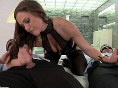 Slutty chick Tina Kay gives blowjob to a duo of dudes and gets DPed