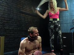 All the painful screams in this video are real. Lorelei Lee humiliated and tortured the muscled stud, by shackling and whipping him. He was ill-treated and his dick and balls were cruelly manhandled. She didn't even allow her pet slave to release his load.