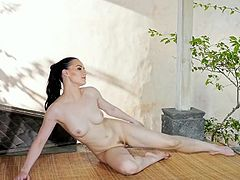 Visit official Playboy's HomepageImpressive babe with sensual lines, Skylar Leigh, shows off naked while triaing for yoga, prior to get started with playing with her hairy cunt