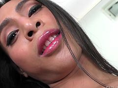 Dew has long hair, small and smooth tits, and a really big cock between her legs for you! She teases for the camera, stroking herself and using a toy, to penetrate her oiled asshole from behind, making her moan.