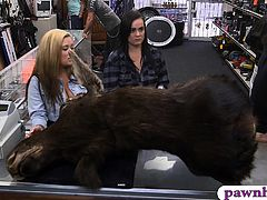 Lesbian couple fucking with pawn keeper at the pawnshop