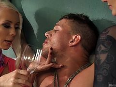 Lorelei and Madeline control their pitiful slave, by tying him up and teasing him with their big tits and sexy feet. His nipples and cock are tortured, as they make him smell their shoes. They make him so horny, that he drools for them, and he has to hold the drool in his mouth or else.