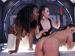 Lisa, Roxy and Casey are in the futuristic room. They're having fun with shrink wrap, vibrating toys and just each other in general. The girls lick, spank and penetrate one another to their heart's content.