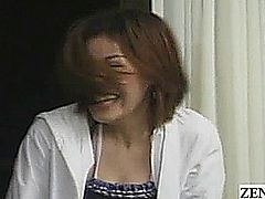 Subtitled Japanese surprised amateur CFNM with massage