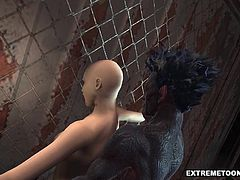 Stunning 3D cartoon babe with her head shaved totaly bald gets fucked outdoors by a horny monster