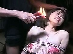Submissive Japanese nympho with perky boobs gets covered in