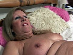 Stockings are smoking hot on the chubby masturbating mature babe